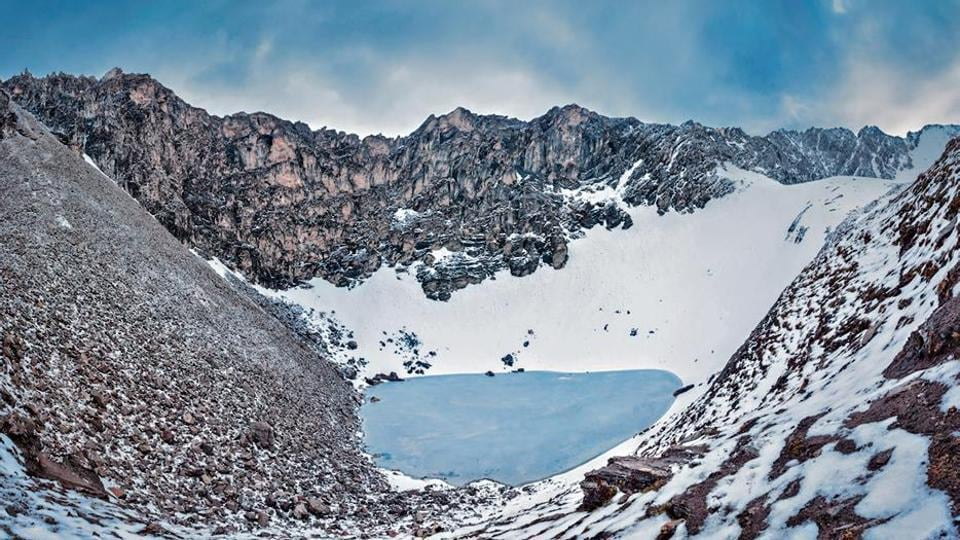 A view of the glacial RoopkundLake in Uttarakhand.