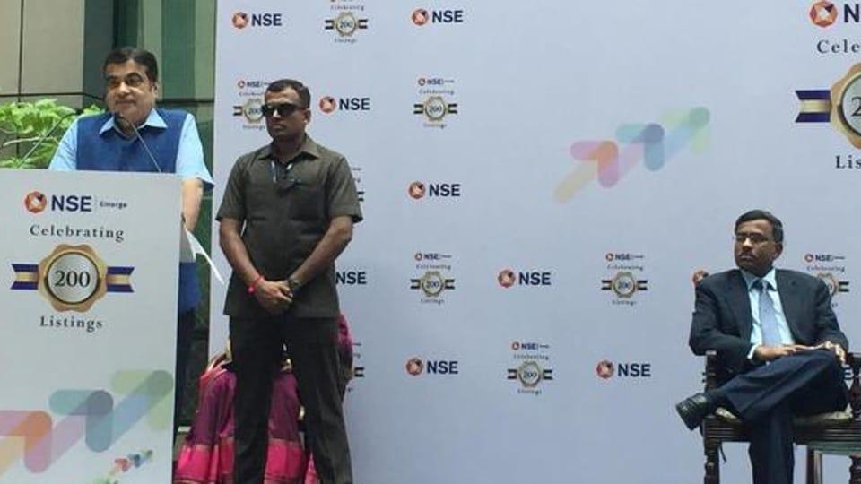 MSME Minister Nitin Gadkari at the celebration of 200 companies listing on NSE EMERGE platform in Mumbai. (Photo: @nitin_gadkari)