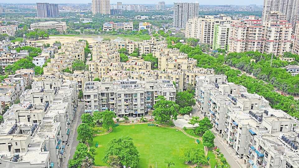 A view of the flats, at Indirapuram, in Ghaziabad.