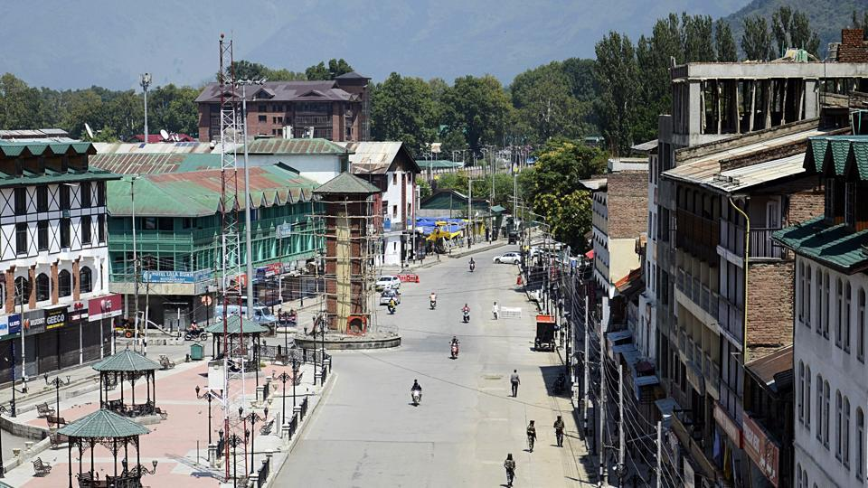 A deserted view of a closed market in Srinagar on Thursday.