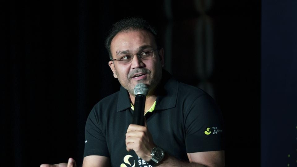 New Delhi: Former Indian cricketer Virender Sehwag speaks during the launch of 'Selector' mobile application, in New Delhi, Wednesday, Aug. 21, 2019.