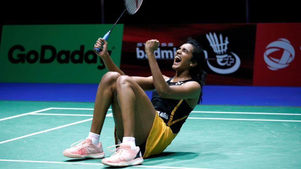 India's PV Sindhu celebrates winning her quarter final women's singles match against Chinese Taipei's Tai Tzu Ying.