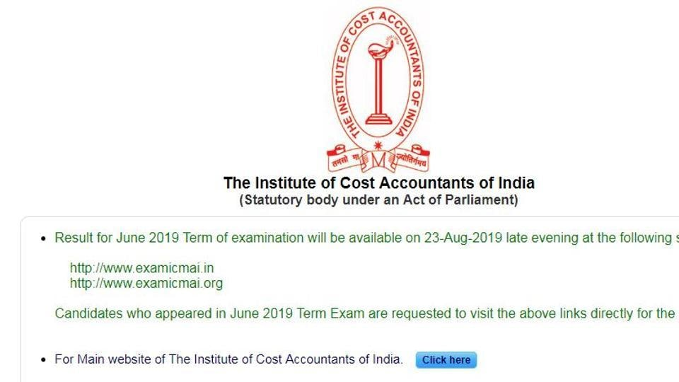 ICMAI result 2019: June term examination results to be