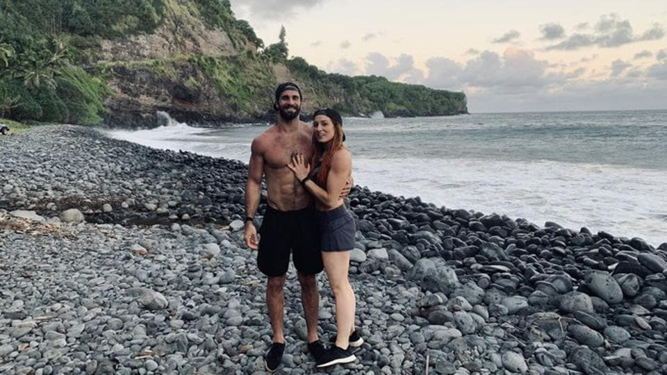 Newly engaged WWE superstar couple Becky Lynch and Seth Rollins.