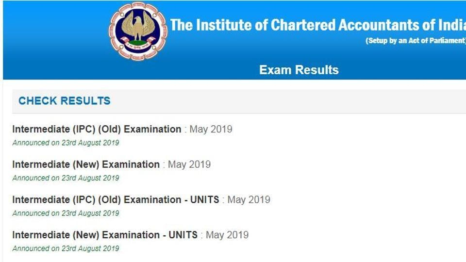 ICAI CA Intermediate Result 2019 declared at icaiexam.icai.org, direct link to ...