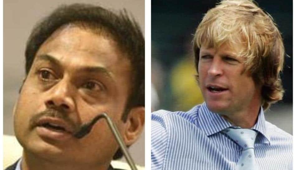 India chairman of selectors MSK Prasad (L) and Jonty Rhodes (L)