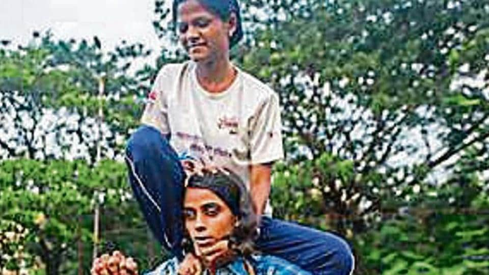 20 visually impaired women and girls from different parts of the city have been gathering at a ground in Matunga to practise their human pyramid formations.