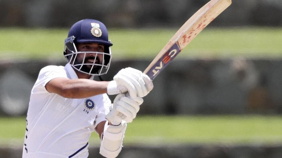 India's Ajinkya Rahane plays a shot against West Indies.