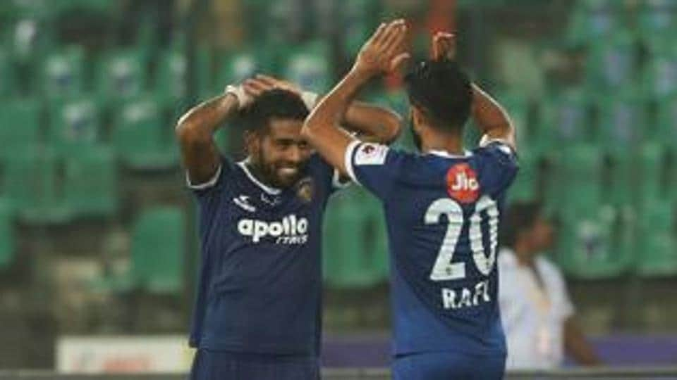 File image of Gregory Nelson and Mohammed Rafi of Chennaiyin FC