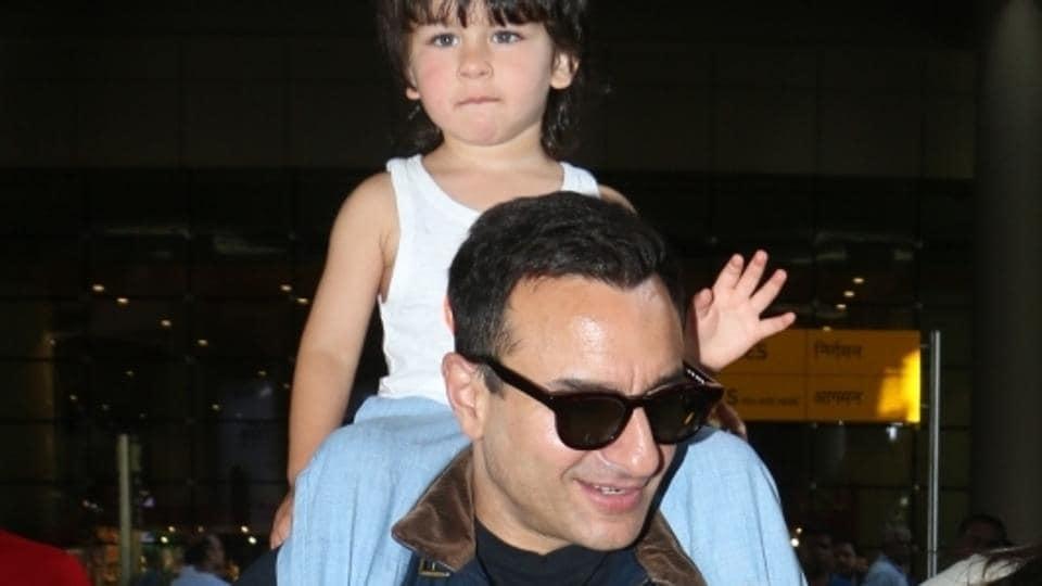 Saif Ali Khan and his son Taimur Ali Khan seen at Chhatrapati Shivaji International Airport.