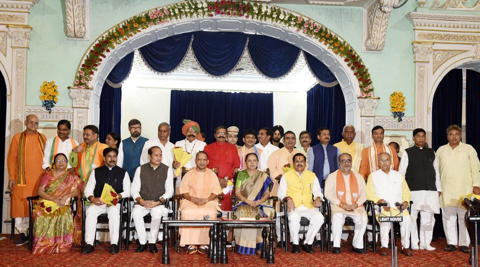 Uttar Pradesh Governor Anandiben Patel and chief minister Yogi Aditiyanath with his newly-inducted ministers, August 21, 2019.