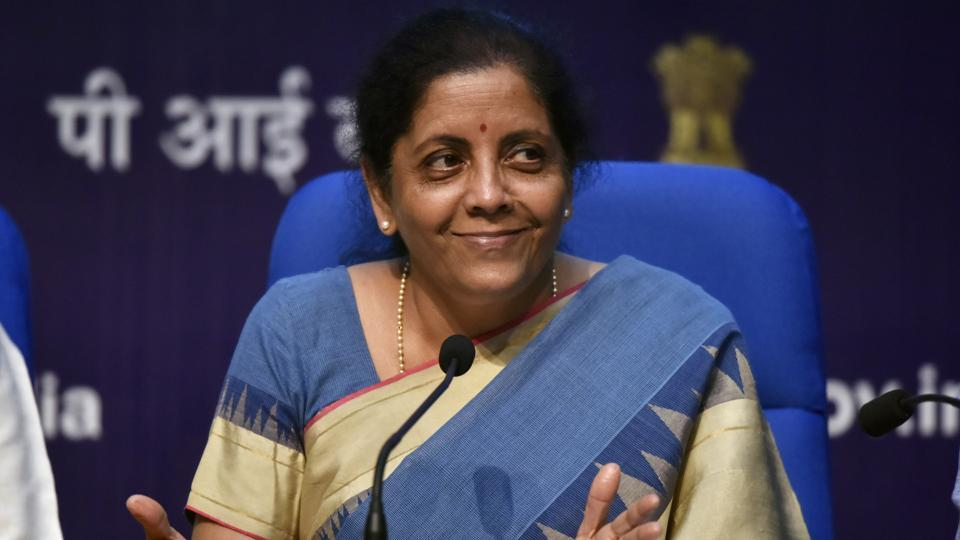 Finance Minister Nirmala Sitharaman addresses a press conference announcing a slew of economic measures to boost growth, at National Media Centre in New Delhi, India, on Friday, August 23, 2019.