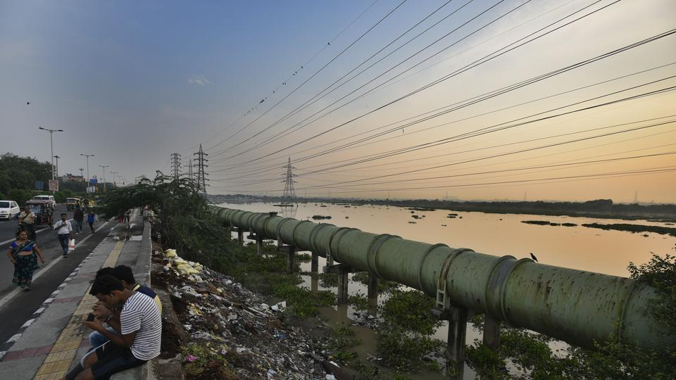 A view of the Yamuna floodwaters affecting a plain area at Ghonda in New Delhi.
