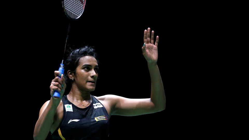 India's PV Sindhu celebrates winning her quarter final women's singles match.