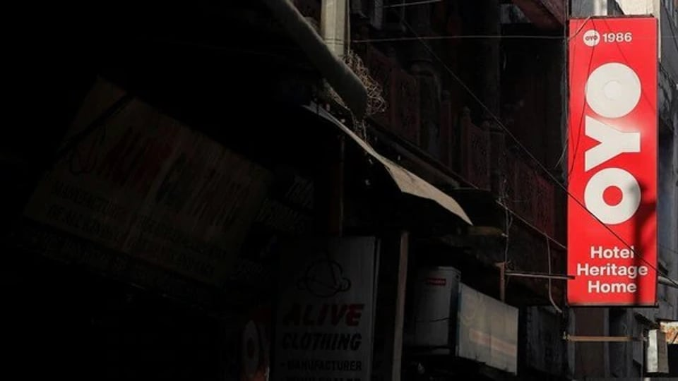 The logo of OYO.