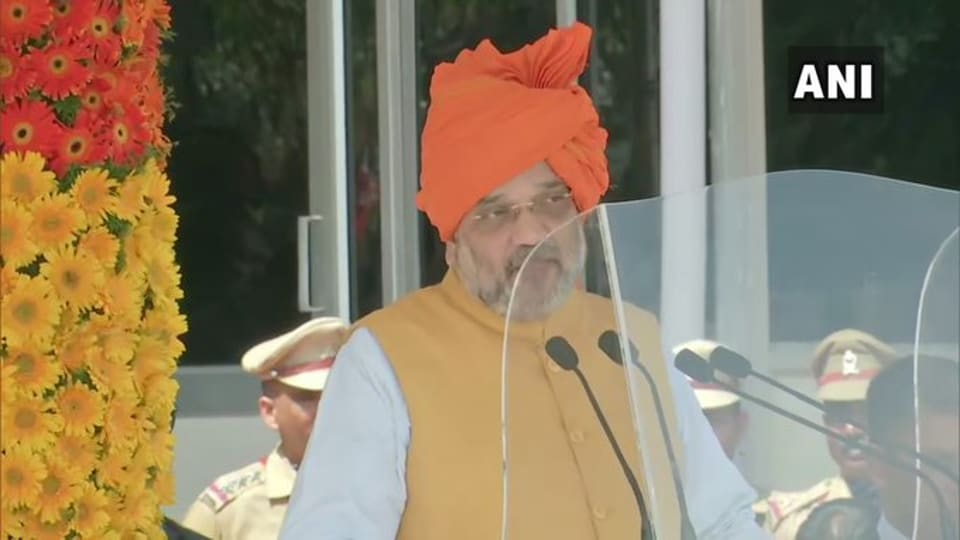 Union Home Minister Amit Shah addressing Indian Police Service probationers in Hyderabad.