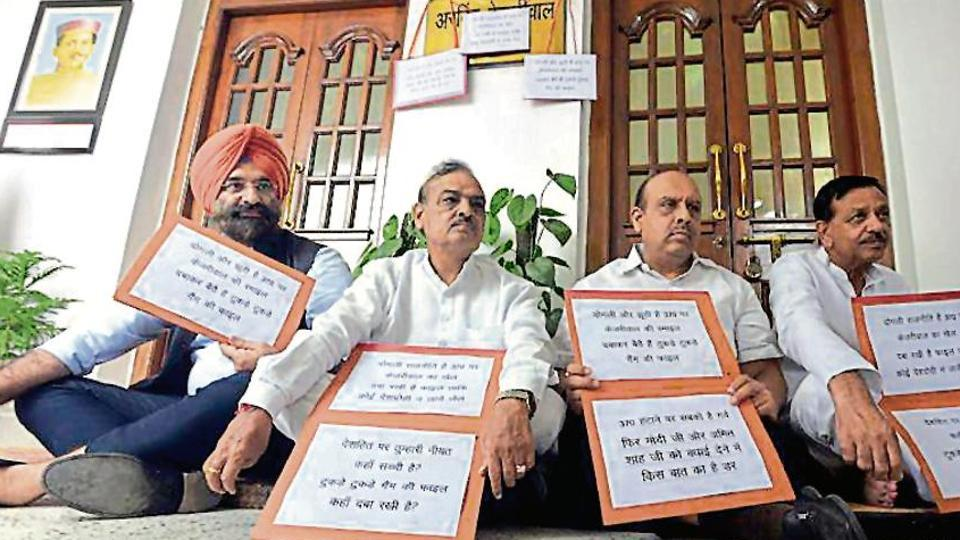 """BJP MLAs started to urge Speaker Ram Niwas Goel to initiate a discussion and pass a """"congratulatory resolution"""" in the House for the division of Jammu & Kashmir into two union territories — Ladakh and J&K — during the question hour."""