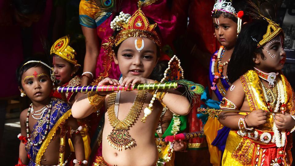 Kolkata, Aug 23 (ANI): Children dressed up as Lord Krishna during the celebrations on the occasion of Janmashtami, in Kolkata on Friday. (ANI Photo)