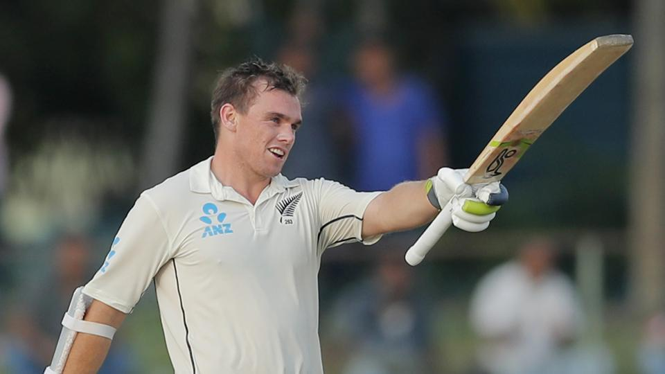 Tom Latham celebrates scoring a century during day three of the second test cricket match between Sri Lanka and New Zealand.