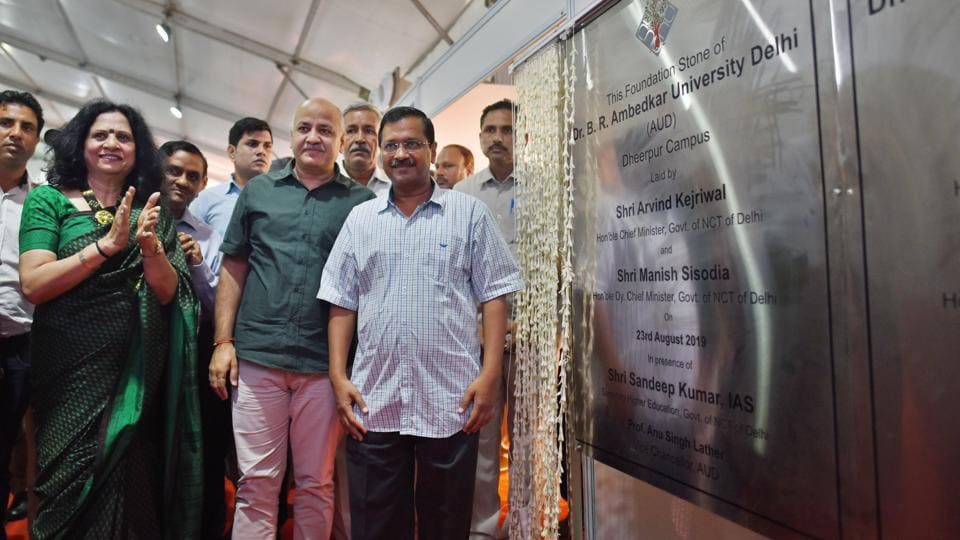 Chief Minister of Delhi Arvind Kejriwal and Deputy Chief Minister Manish Sisodia during the foundation stone laying ceremony for Dr. BR Ambedkar University, at Dheerpur village, in New Delhi, India, on Friday, August 23, 2019.