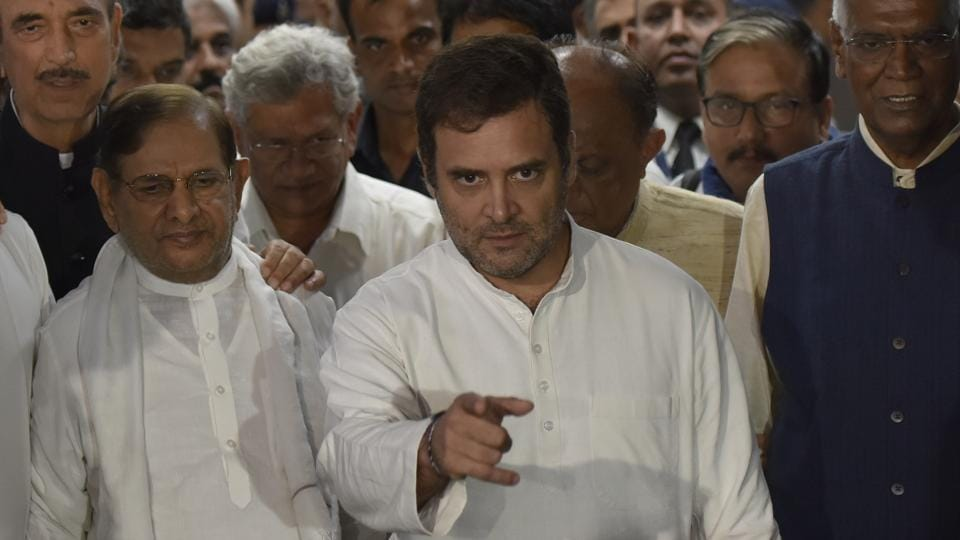 A delegation of opposition leaders including Rahul Gandhi, Ghulam Nabi Azad, Sitaram Yechuri, D. Raja and Majeed Memon returns from Srinagar, in New Delhi on Saturday August 24, 2019.