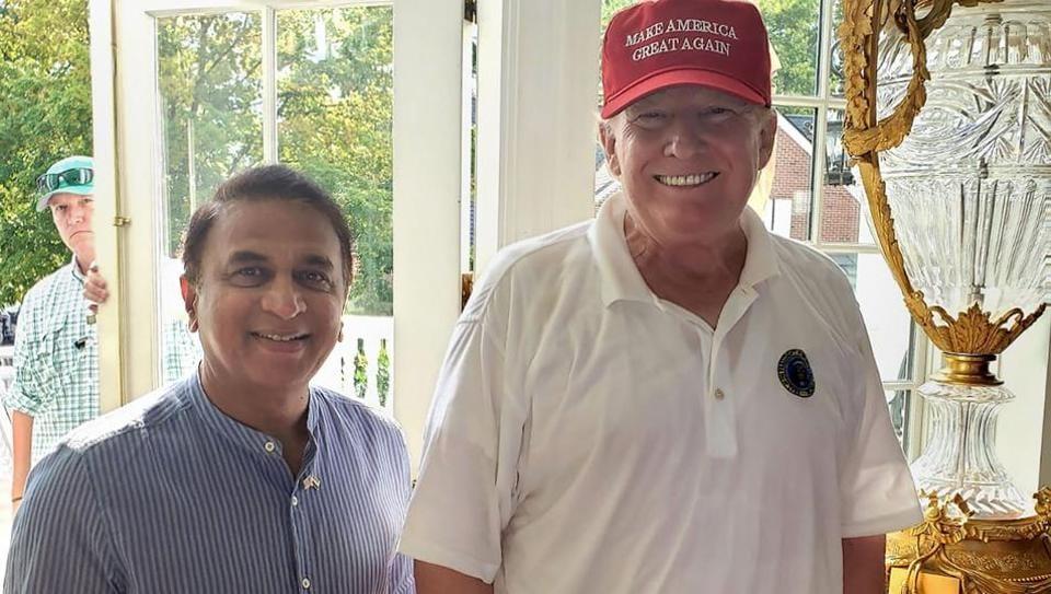 Former cricketer Sunil Gavaskar with USPresident Donald Trump.