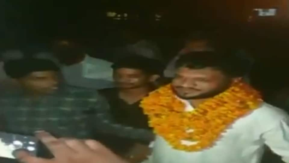 Bulandshahr violence accused was given a hero's welcome on his release from jail on Saturday.