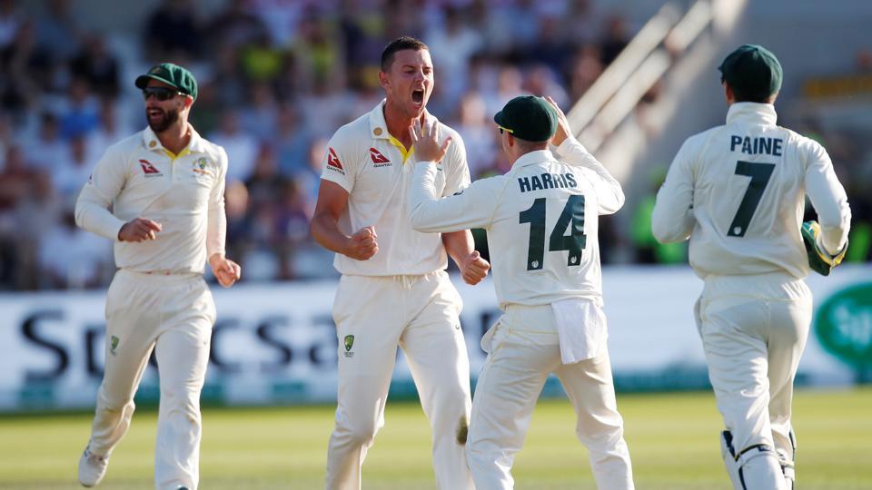 Australia's Josh Hazlewood celebrates taking the wicket of England's Joe Denly
