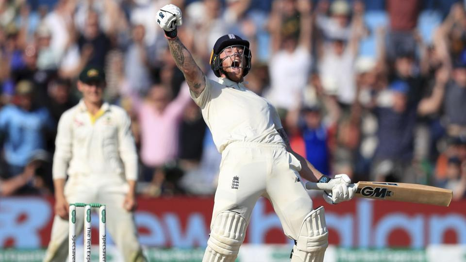 England's Ben Stokes celebrates victory on day four of the third Ashes Test.