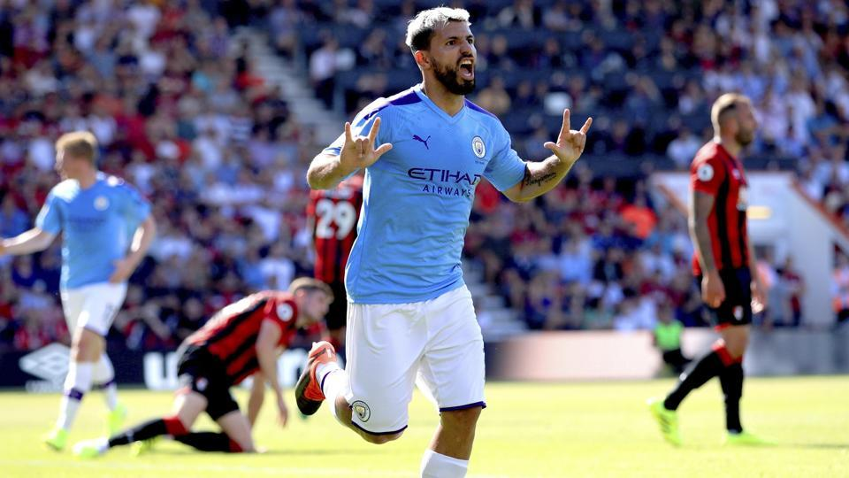 First half efforts from Aguero and Raheem Sterling ensured Pep Guardiola's side led at the interval despite a stunning free-kick reply from Bournemouth's Harry Wilson.