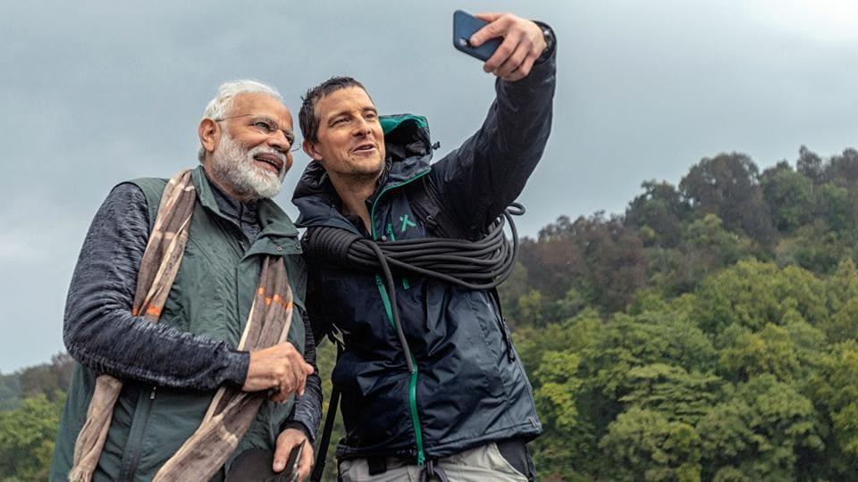 'Man vs Wild' host of the wildlife show Bear Grylls takes a selfie with Prime Minister Narendra Modi in Jim Corbett National Park.