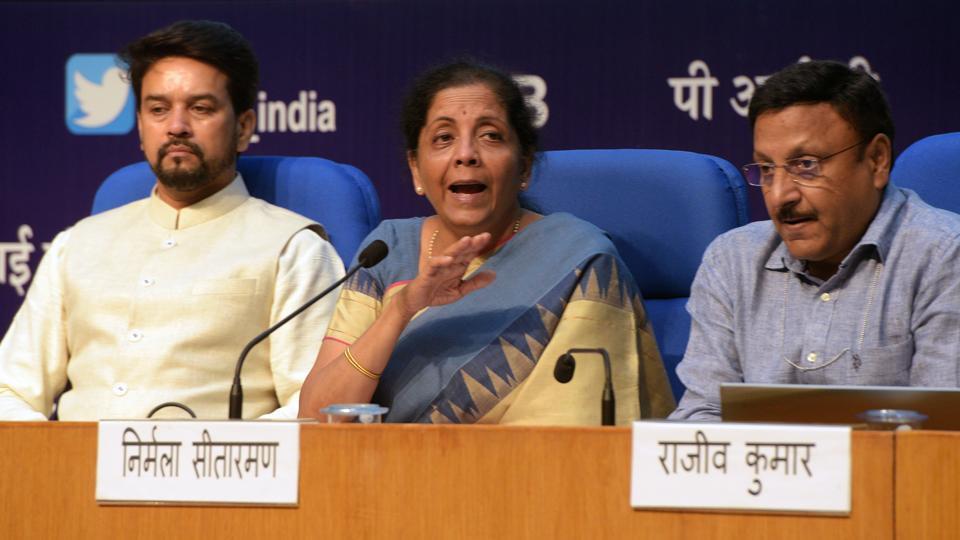 Finance minister Nirmala Sitharaman at the National Media Centre, New Delhi, August 23, 2019