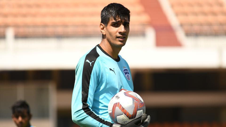 Goalkeeper Gurpreet Singh Sandhu during a training session