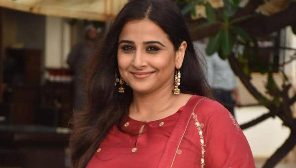 Bollywood actor Vidya Balan poses during a media interaction for the film Mission Mangal.