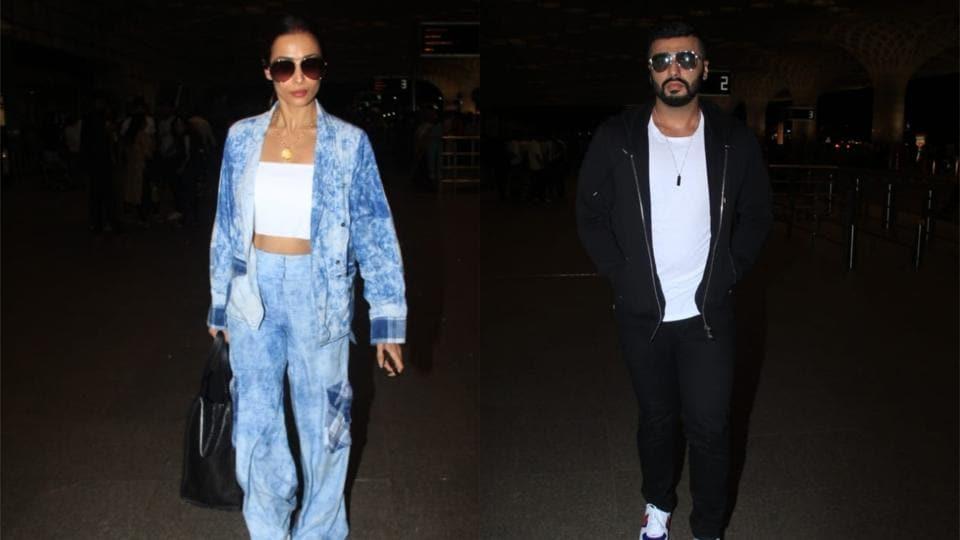 Malaika Arora and Arjun Kapoor spotted at Mumbai airport on Sunday.