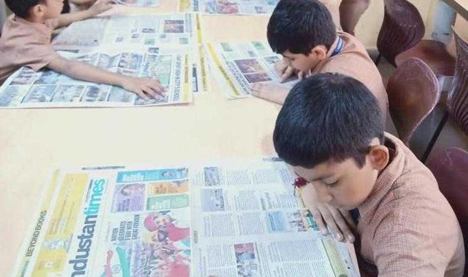 Class 3 and Class 4 students of the Cambridge School, Kandivli, read copies of Hindustan Times.