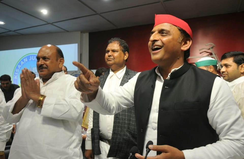 Samajwadi Party president Akhilesh Yadav at a press conference in Lucknow.
