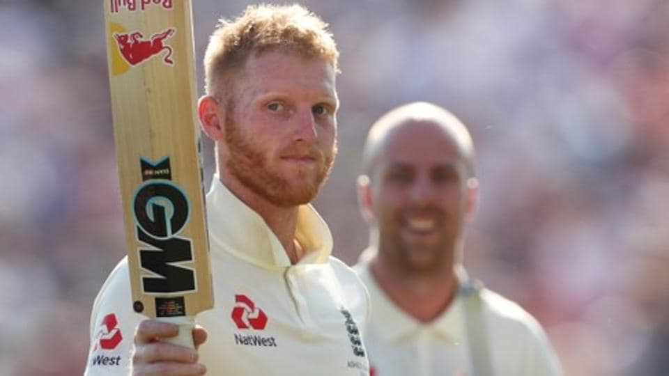 England's Ben Stokes and Jack Leach celebrate winning the Test.