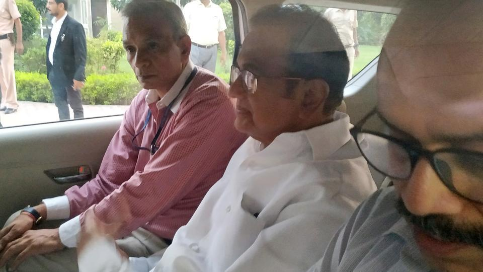 Former Union minister P Chidambaram leaves after a special court sent him to CBI custody till August 26, in New Delhi on Thursday.