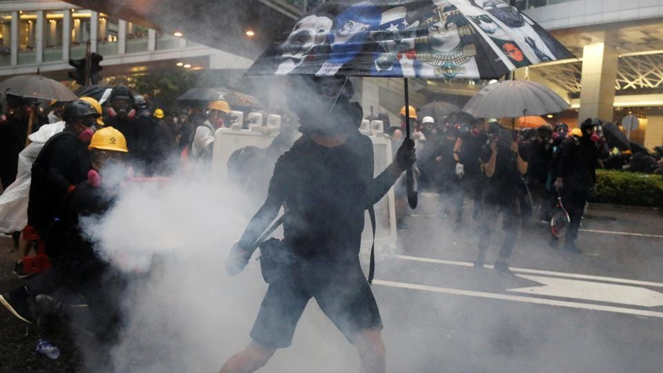 Hong Kong police said that they arrested 36 people, the youngest aged 12, after violence during anti-government demonstrations escalated.