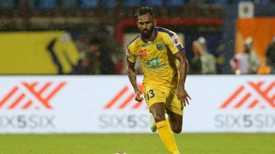 CK Vineeth while playing for Kerala Blasters FC.
