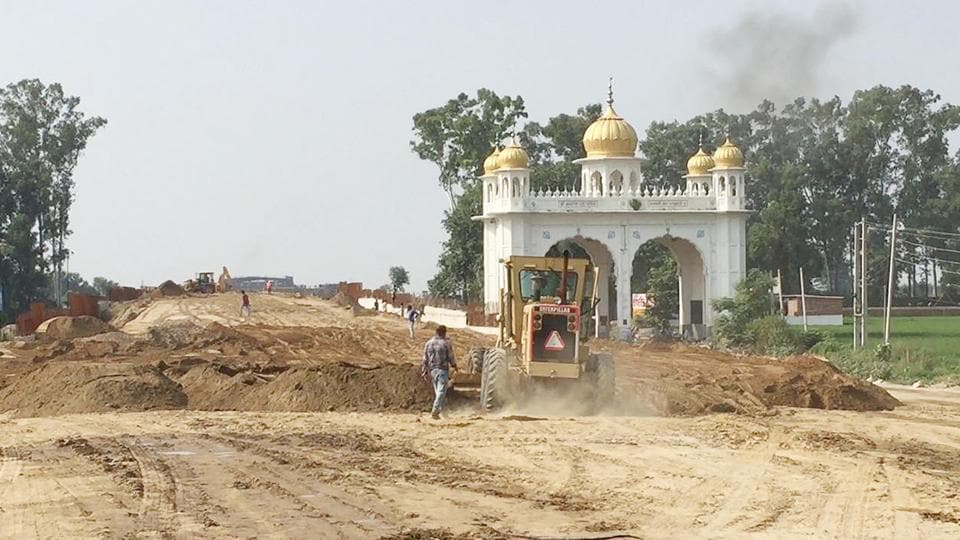 A view of the construction work of Kartarpur Corridor at Dera Baba Nanak in Gurdaspur district on Monday.