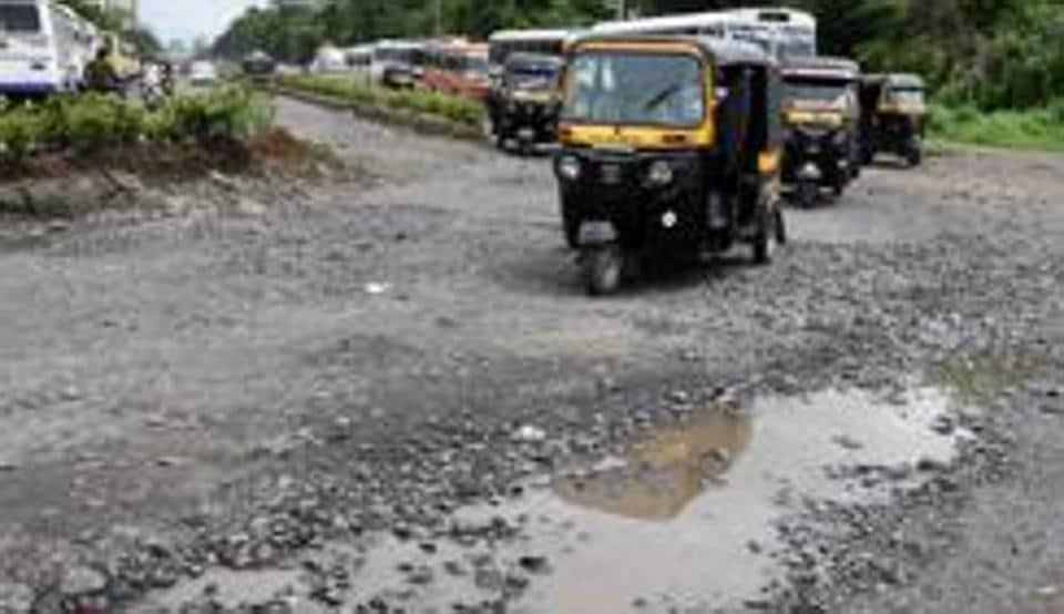 Patni road has developed big potholes at Airoli in Navi Mumbai, July 22, 2019.