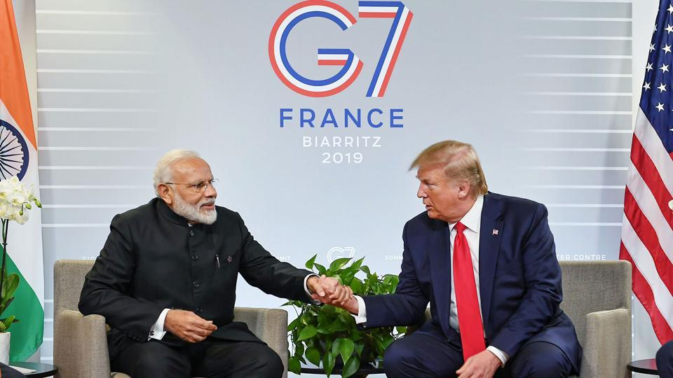 Prime Minister Narendra Modi with US President Donald Trump during a bilateral meeting in the sidelines of G-7 summit in Biarritz, France, Monday.