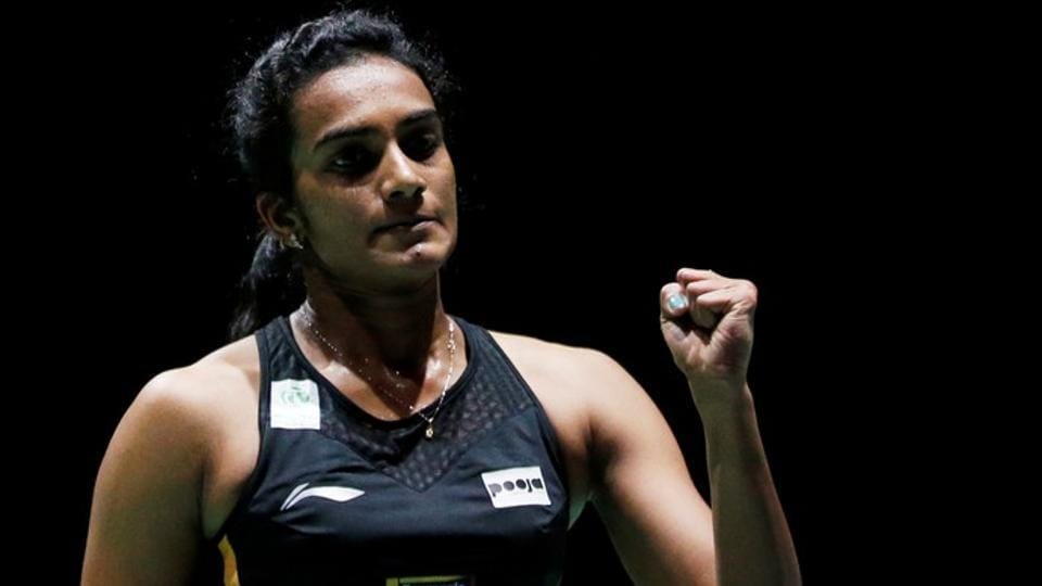 PVSindhu in action during her final women's singles match against Japan's Nozomi Okuhara.