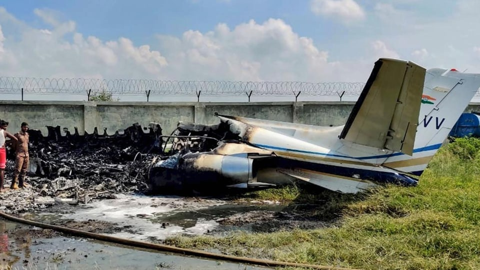 A private aircraft crashed on Tuesday at the Ghanipur air strip in Uttar Pradesh's Aligarh.