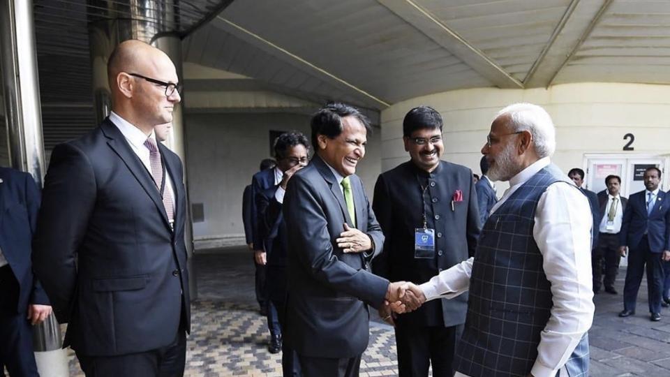 Suresh Prabhu with PM Modi in Biarritz, France.