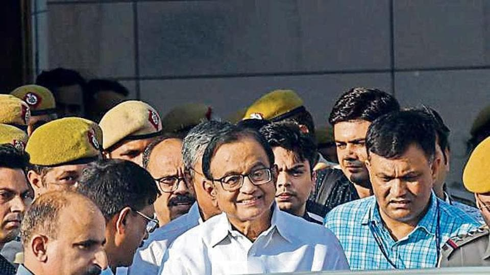 Senior Congress leader and former finance minister P Chidambaram comes out of Delhi's Rouse Avenue Court after a hearing in New Delhi on Monday.