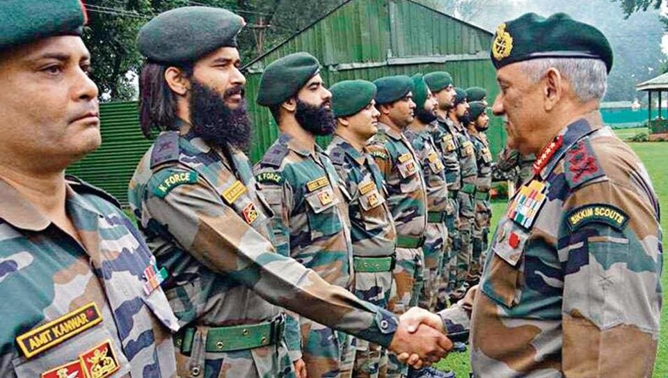 Army Chief General Bipin Rawat with army officers in Baramulla district on August 1, 2019.