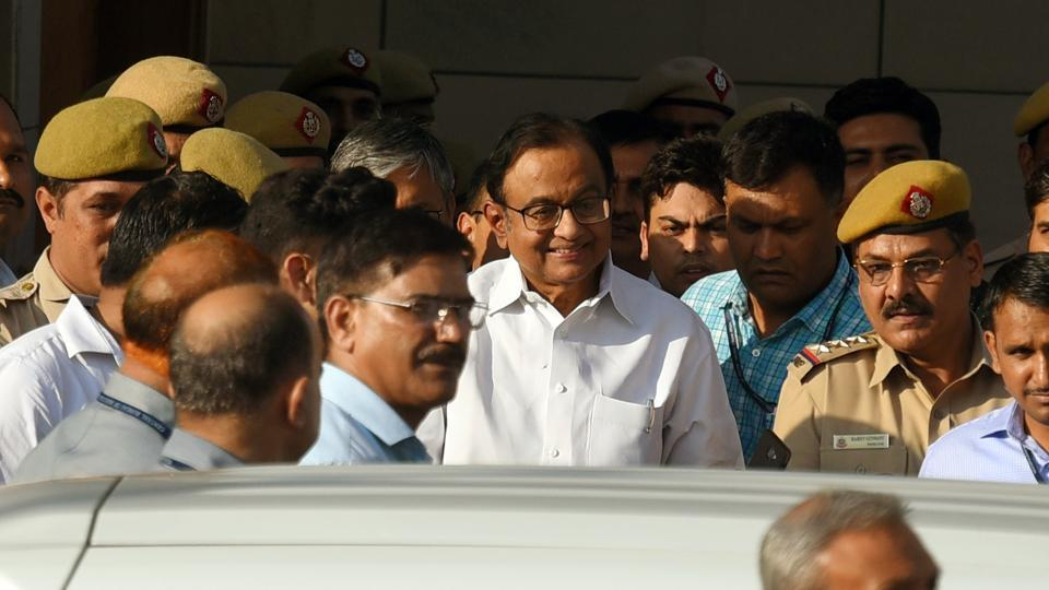 Senior Congress leader and former finance minister P Chidambaram comes out of Rouse Avenue Court after the hearing in connection with the INX Media case, in New Delhi, India, on Monday